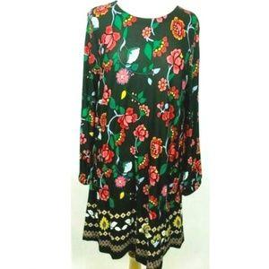 LOFT Dress Size L Floral Print Long Sleeves NWT